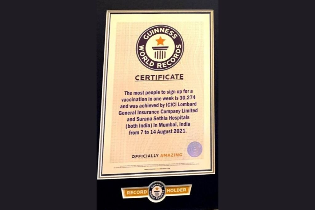 Surana Group of Hospitals Along With ICICI Lombard Vaccinated 30,467 People Free Of Cost from August 7 To 14, 2021 Setting New Guinness World Records